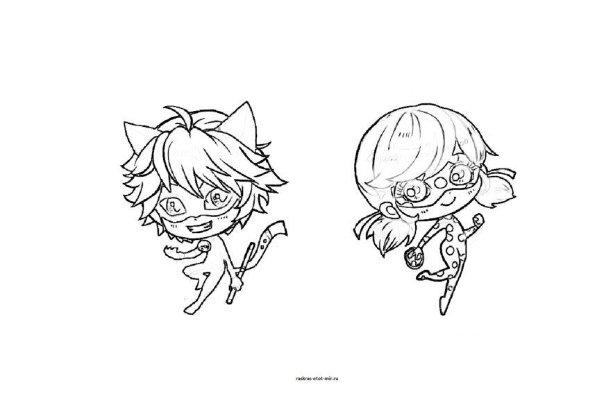 Картинки для срисовки Леди Баг и Супер Кот